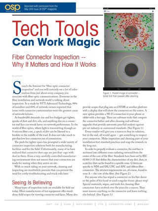 Fiber Connector Inspection -- Why It Matters and How It Works