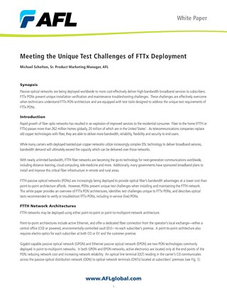 Meeting the Unique Test Challenges of FTTx Deployment