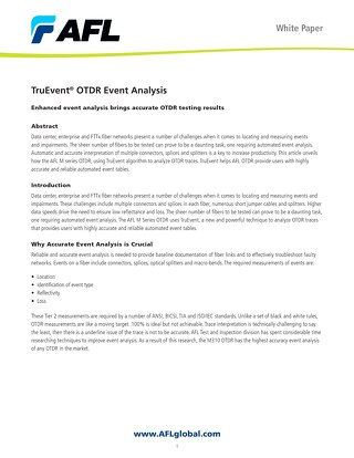TruEvent® OTDR Event Analysis