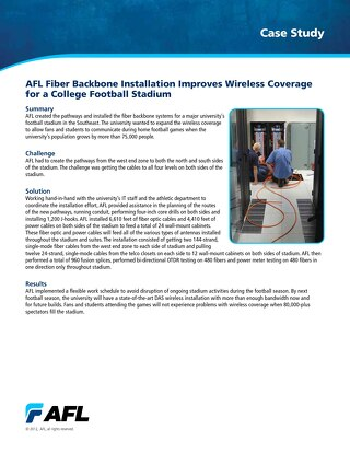 AFL Fiber Backbone Installation Improves Wireless Coverage for a College Football Stadium