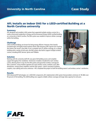 AFL Installs an Indoor DAS for a LEED-certified Building at a North Carolina University