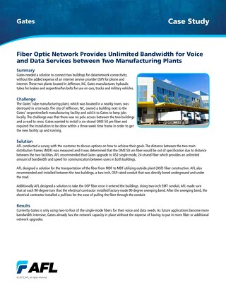 Fiber Optic Network Provides Unlimited Bandwidth for Voice and Data Services between Two Manufacturing Plants