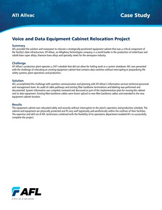 Voice and Data Equipment Cabinet Relocation Project