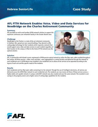 AFL FTTH Network Enables Voice, Video and Data Services for NewBridge on the Charles Retirement Community