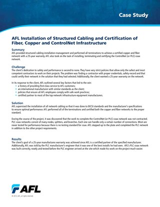 AFL Installation of Structured Cabling and Certification of Fiber, Copper and ControlNet Infrastructure