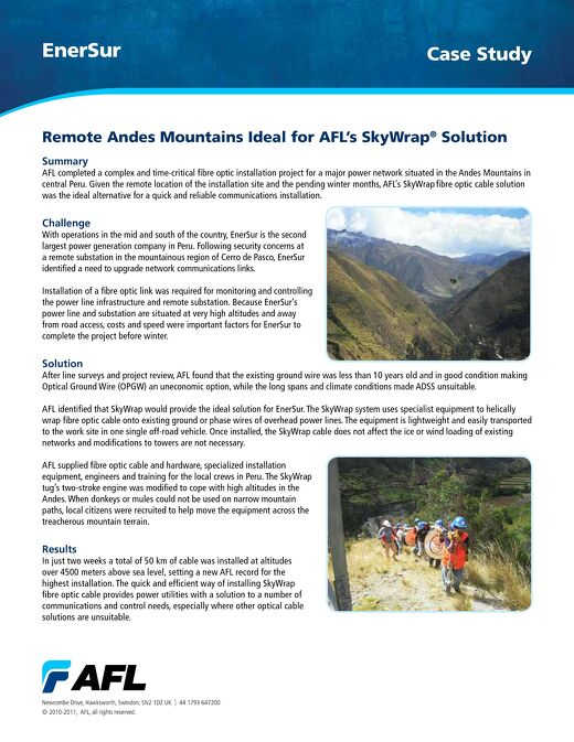 Remote Andes Mountains Ideal for AFL's SkyWrap® Solution