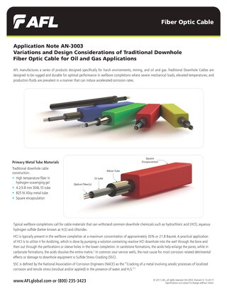 Variations and Design Considerations of Traditional Downhole Fiber Optic Cable for Oil and Gas Applications