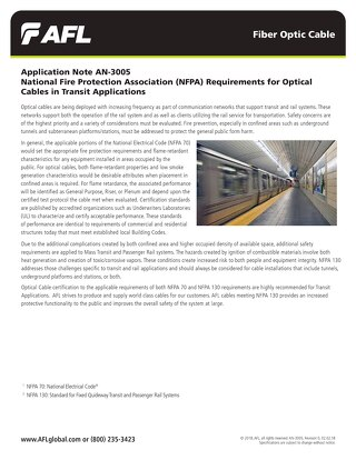 National Fire Protection Association (NFPA) Requirements for Optical Cables in Transit Applications