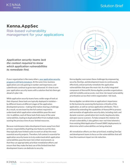 The Kenna Application Risk Module
