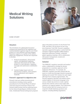 Case study medical writing solutions