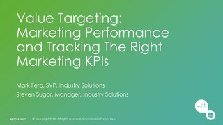 Value Targeting - Marketing Performance & Tracking The Marketing KPIs – Mark Fera & Steve Sugar [Aprimo Sync! London]