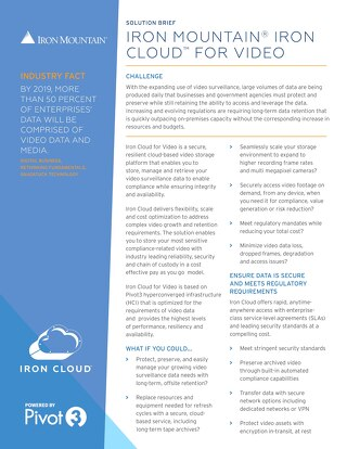 Solution Brief - Iron Mt. - Pivot3 - Iron Cloud for Video