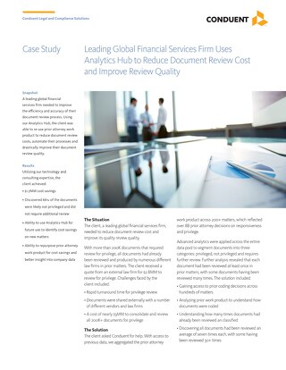 Leading Global Financial Services Firm Uses Analytics Hub