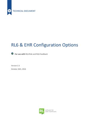 EHR  RL Configuration Options - Version 2.3 - 2016-10-26