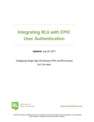 Integrating RL6 with EPIC User Authentication