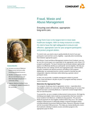 Fraud, Waste and Abuse Detection Solutions for Healthcare