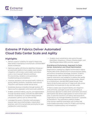 Extreme IP Fabrics Deliver Automated Cloud Data Center Scale and Agility