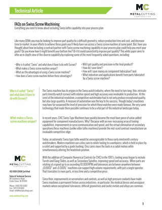 FAQs on Swiss Screw Machining