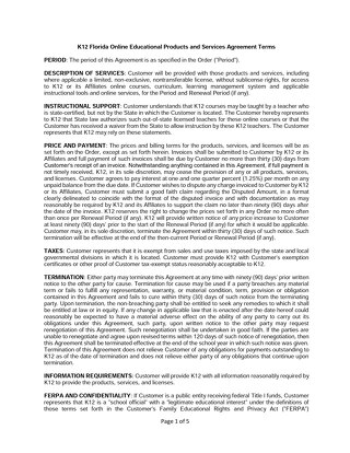 K12 Florida Online Educational Products and Services Agreement