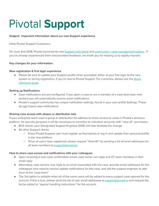 Update on New Pivotal Support System