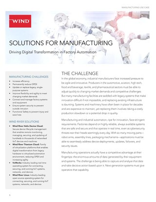 Solutions for Manufacturing Use Case