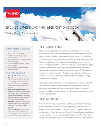 Solutions for Energy Sector Use Case