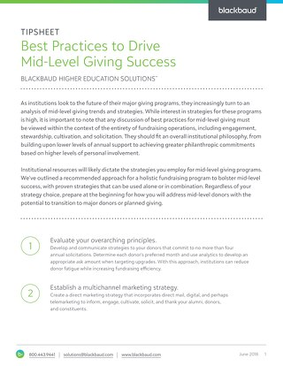 Tip Sheet: Best Practices to Drive Mid-Level Giving Success