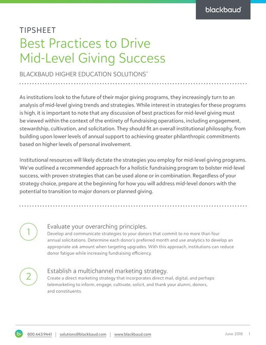 Best Pracitices to Drive Mid-Level Giving Success