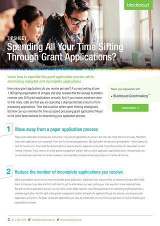Spending Time Sifting through Grants - Tipsheet