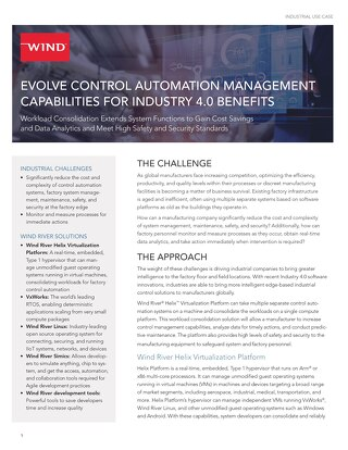 Evolve Control Automation Management Capabilities for Industry 4.0 Benefits