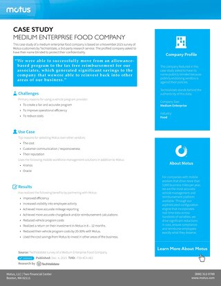 Medium Enterprise Food Company Case Study