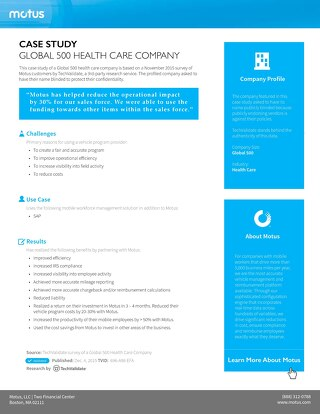 Global 500 Health Care Company Case Study