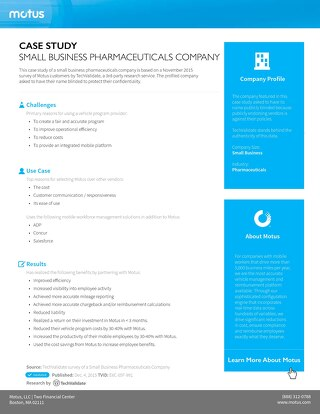 Small Business Pharmaceuticals Company Case Study