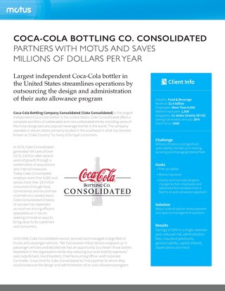Coca-Cola Bottling Company Partners with Motus and Saves Millions of Dollars Per Year