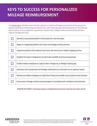 Keys to Success for Personalized Mileage Reimbursement