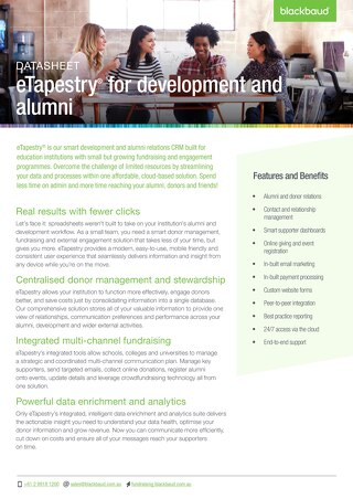 eTapestry Datasheet Education