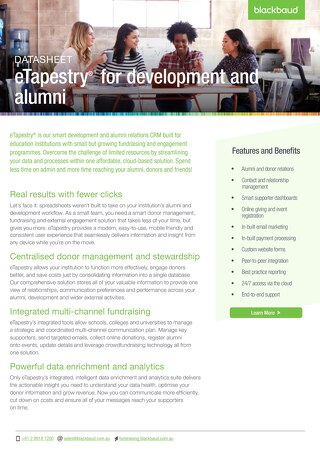 eTapestry Datasheet Education - Detailed