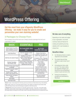 eTapestry WordPress offering