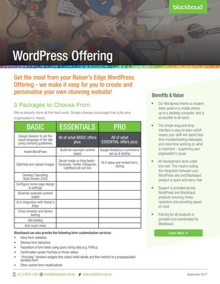 Raiser's Edge WordPress Offering