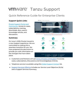 Pivotal Support Quick Reference Guide