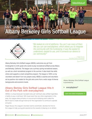 Fundraising as a Team Goal - Albany Berkeley Girls Softball League