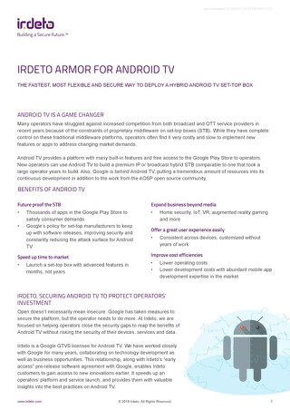 Solution overview: Irdeto Armor for Android TV