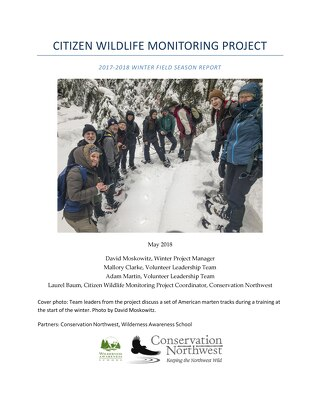 2017-18 Winter Field Season Citizen Wildlife Monitoring Project Report