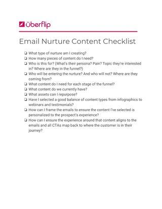 Email Nurture Content Checklist
