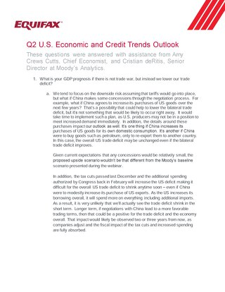 Q2 U.S. Economic and Credit Trends Outlook - FAQ