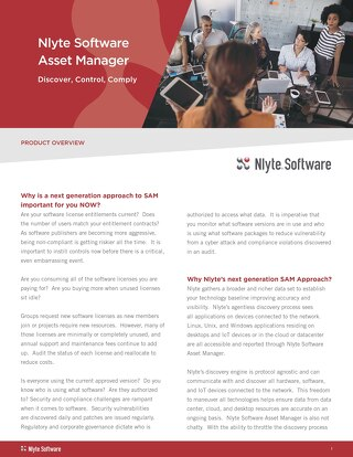 Nlyte Software Asset Manager Product Brief