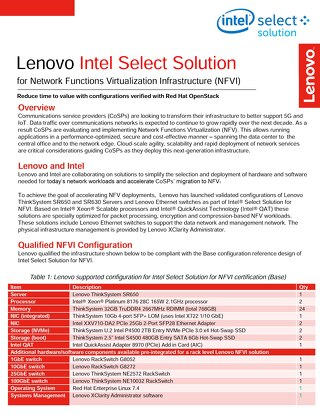 Lenovo Intel Select Solution for Network Functions Virtualization Infrastructure