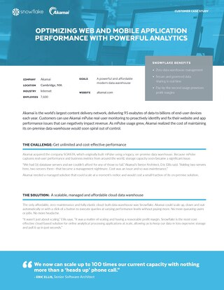 Akamai Case Study - Optimizing web and mobile application performance with powerful analytics