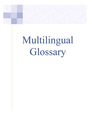 Multilingual Glossary