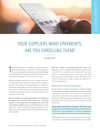 Your Suppliers Want Epayments